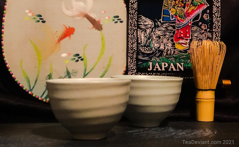 Japanese tea cups chasen fan and sign